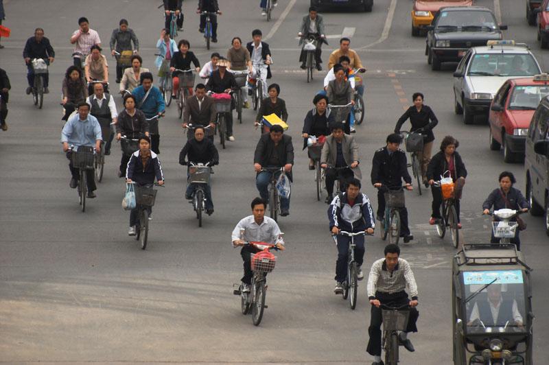 출퇴근 시간의 자전거 행렬.