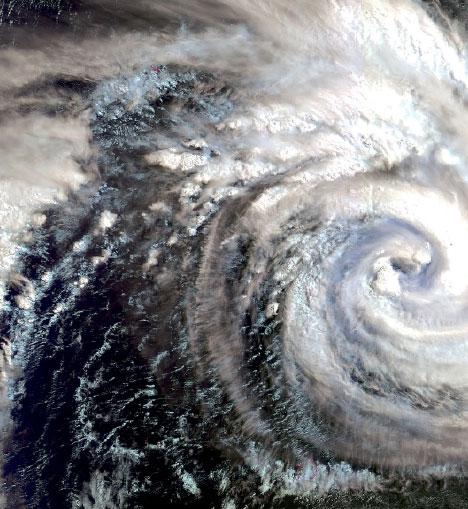기상위성이 찍은 태풍의 모습